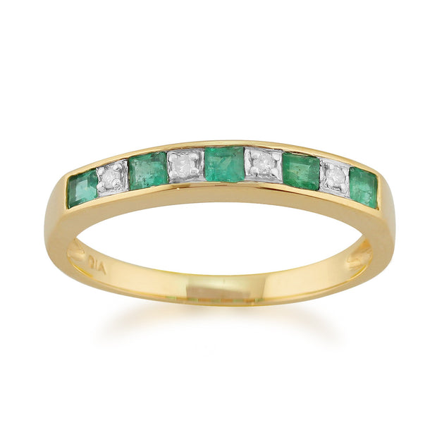 Emerald and Diamond Half Eternity Ring Image 1
