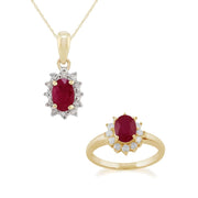 Classic Ruby & Diamond Halo Cluster Pendant & Ring Set Image 1