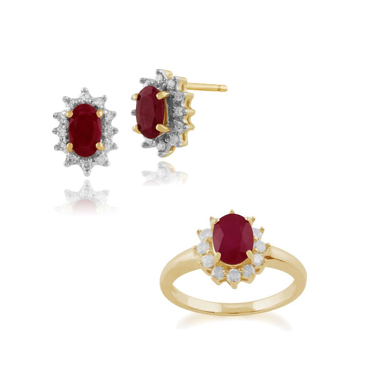 Classic Ruby & Diamond Halo Cluster Stud Earrings & Ring Set Image 1