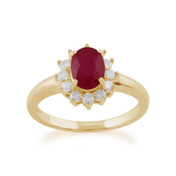 Classic Ruby & Diamond Halo Cluster Pendant & Ring Set Image 3