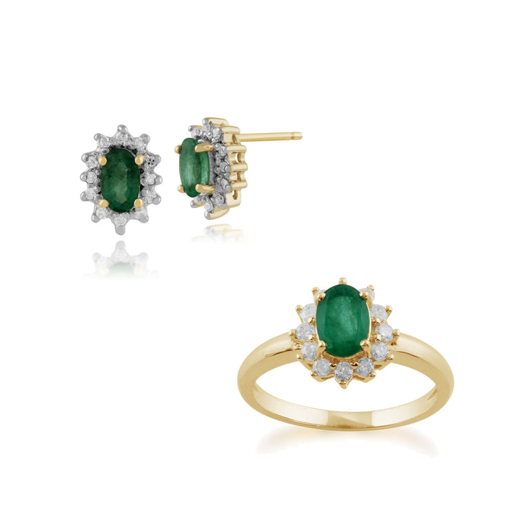 Classic Emerald & Diamond Halo Cluster Stud Earrings & Ring Set Image 1