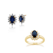 Classic Sapphire & Diamond Halo Cluster Stud Earrings & Ring Set Image 1
