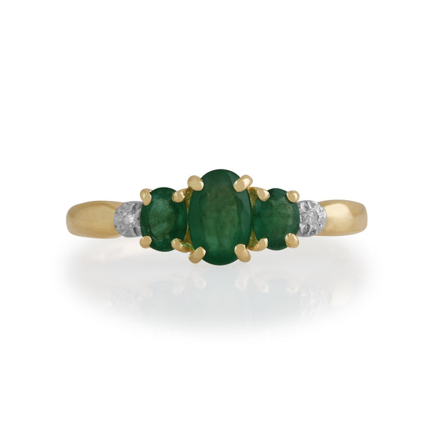 Emerald and Diamond Trilogy Ring Image 1