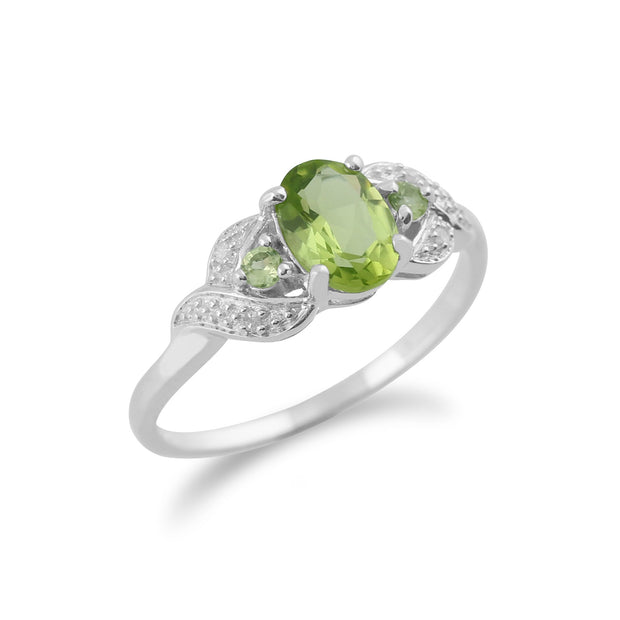 9ct White Gold 0.84ct Natural Peridot & 1.6pt Diamond Three Stone Ring Image 2