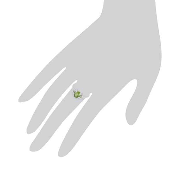 9ct White Gold 0.84ct Natural Peridot & 1.6pt Diamond Three Stone Ring Image 3