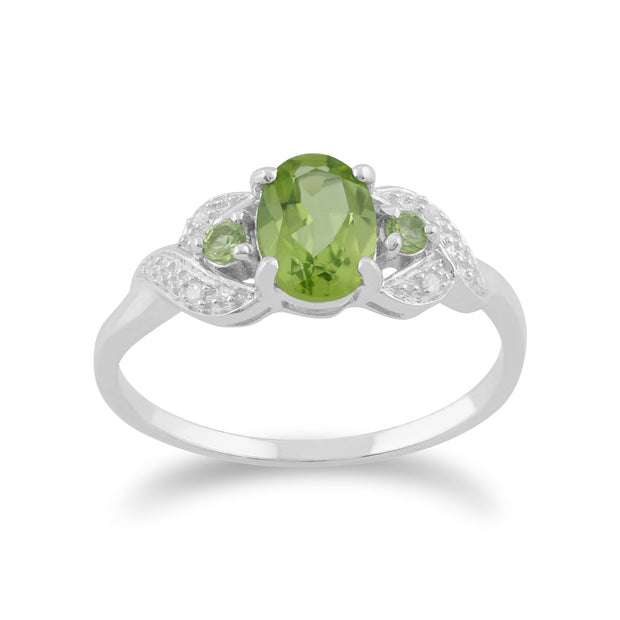 9ct White Gold 0.84ct Natural Peridot & 1.6pt Diamond Three Stone Ring Image 1