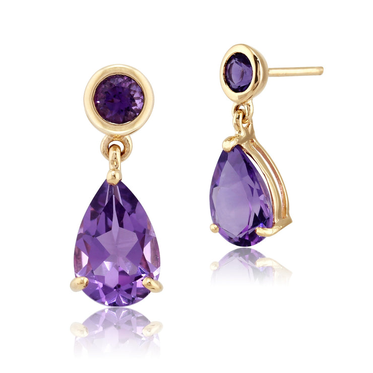 10ct Yellow Gold Amethyst Two Stone Drop Earrings