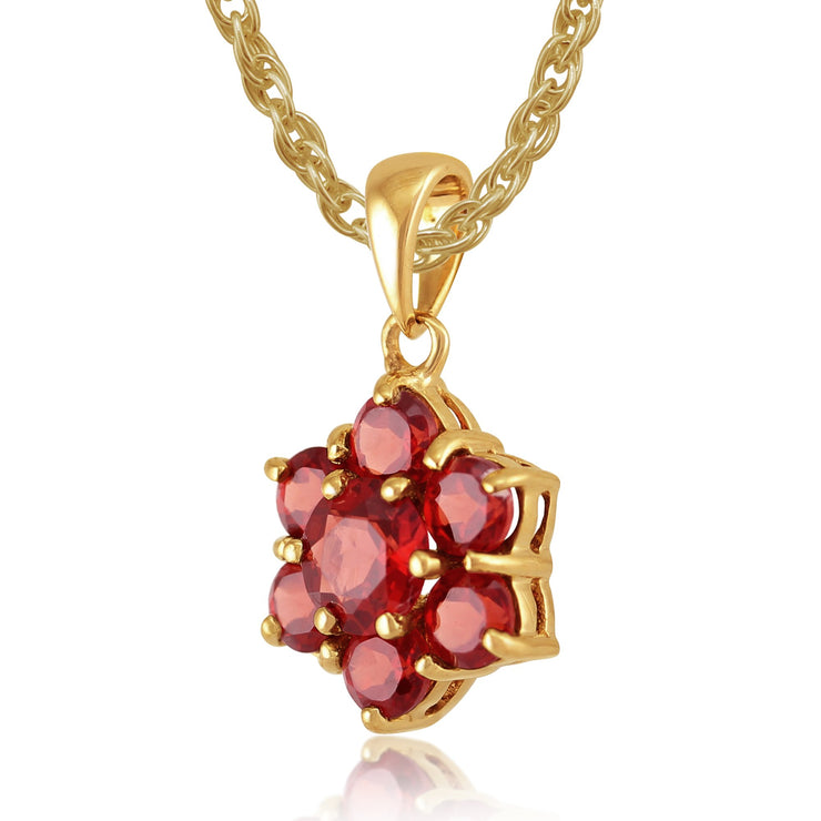 Floral Garnet Pendant on Chain Image 2