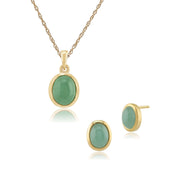 Classic Jade Bezel Stud Earrings Pendant Set Image 1