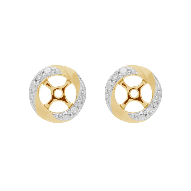 Classic Diamond Two Tone Gold Earring Jacket Image 1