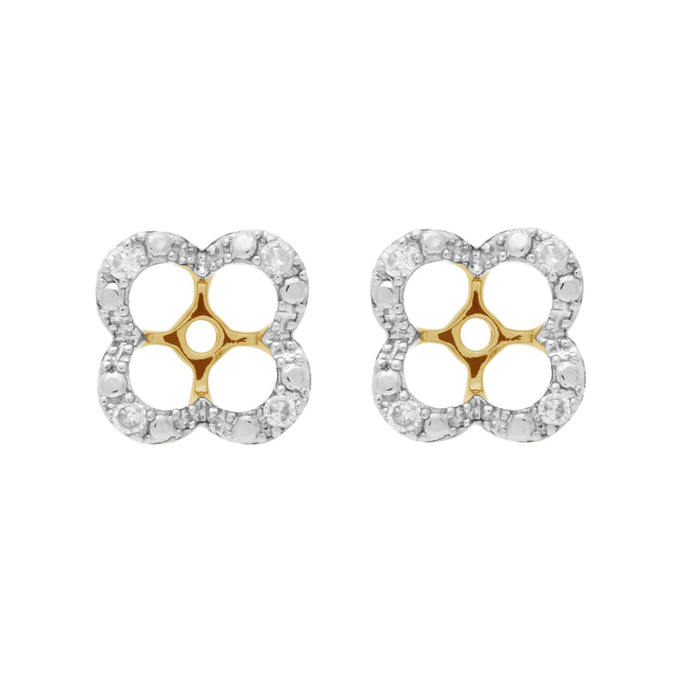 Classic Blue Topaz Stud Earrings & Diamond Floral Ear Jacket Image 3