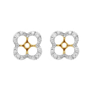 Classic Fire Opal Stud Earrings & Diamond Floral Ear Jacket Image 3