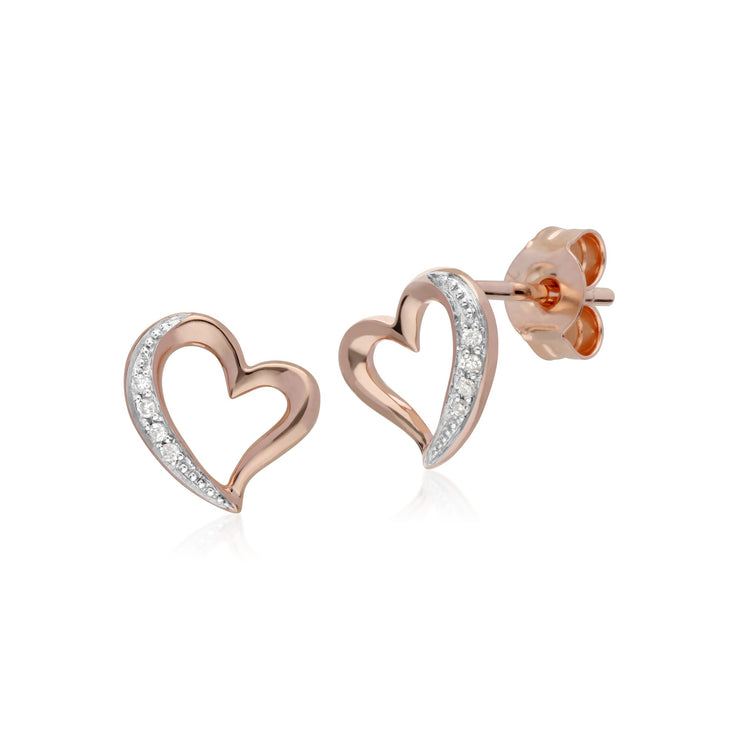Classic Diamond Heart Stud Earrings Image 1