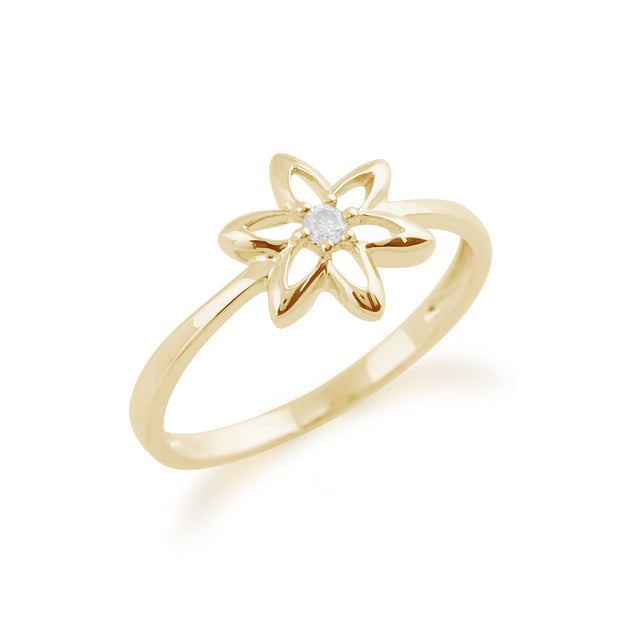 Gemondo 9ct Yellow Gold 0.03ct Diamond Spring Starflower Ring Image 2