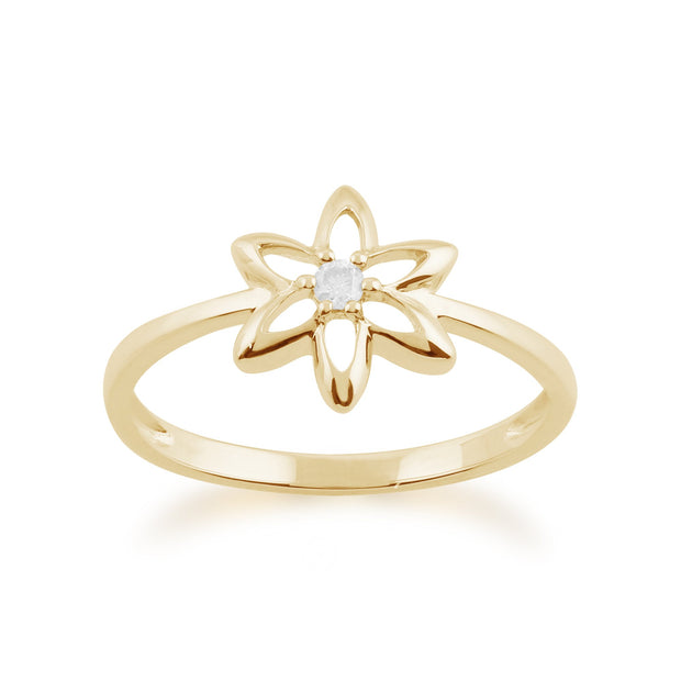 Gemondo 9ct Yellow Gold 0.03ct Diamond Spring Starflower Ring Image 1