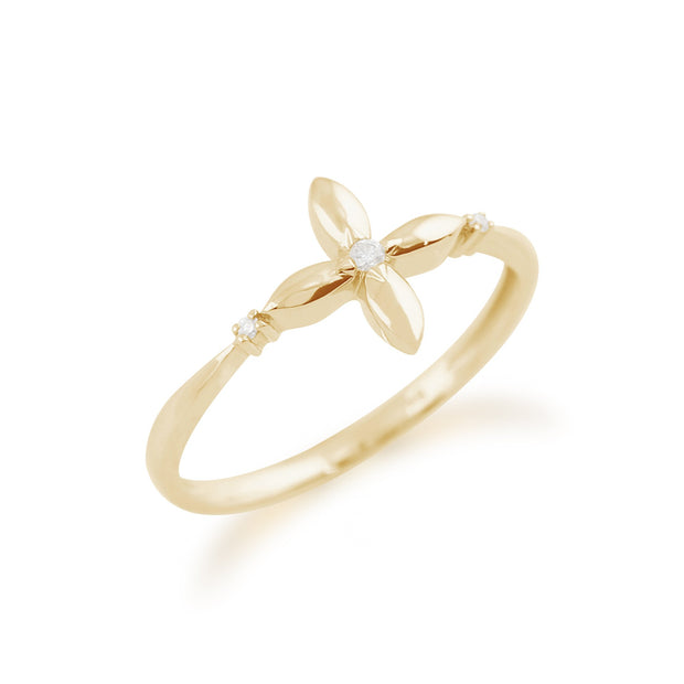 Gemondo 9ct Yellow Gold 0.02ct Diamond Ixora Flower Ring Image 2