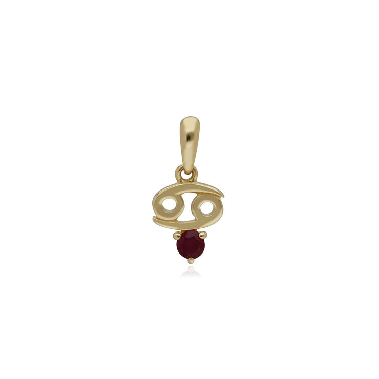 Ruby Cancer Zodiac Charm in 9ct Yellow Gold