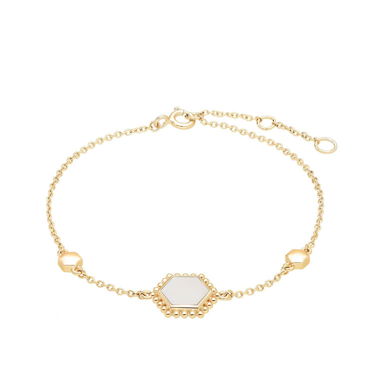 Mother of Pearl Flat Slice Hex Bracelet in Gold Plated Sterling Silver
