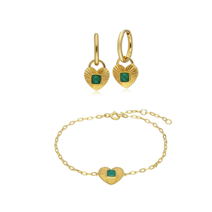 Queen of Hearts Chalcedony Hoop Earrings & Bracelet Set