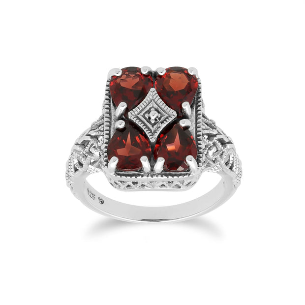 Art Nouveau Inspired Garnet Statement Ring in 925 Sterling Silver