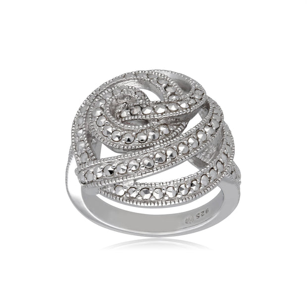 Marcasite Statement Spiral Cocktail Ring in Sterling Silver