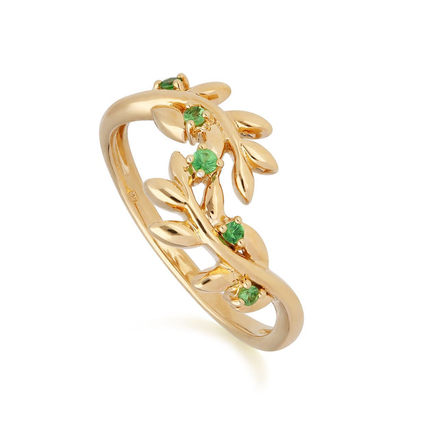 O Leaf Tsavorite Olive Branch Ring in Gold Plated Sterling Silver
