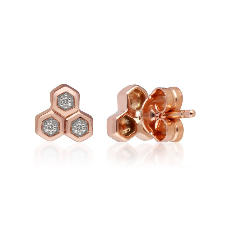Diamond Trilogy Mismatched Stud Earrings in 9ct Rose Gold