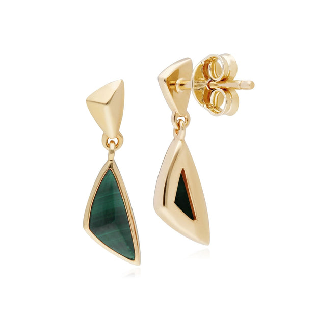 Micro Statement Malachite Drop Earrings in Gold Plated 925 Sterling Silver
