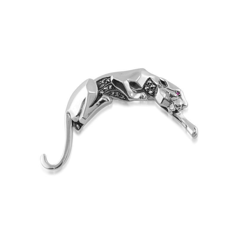 Art Deco Ruby & Marcasite Panther Brooch Image 1