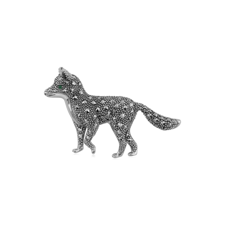 Classic Marcasite Fox Brooch Image 1