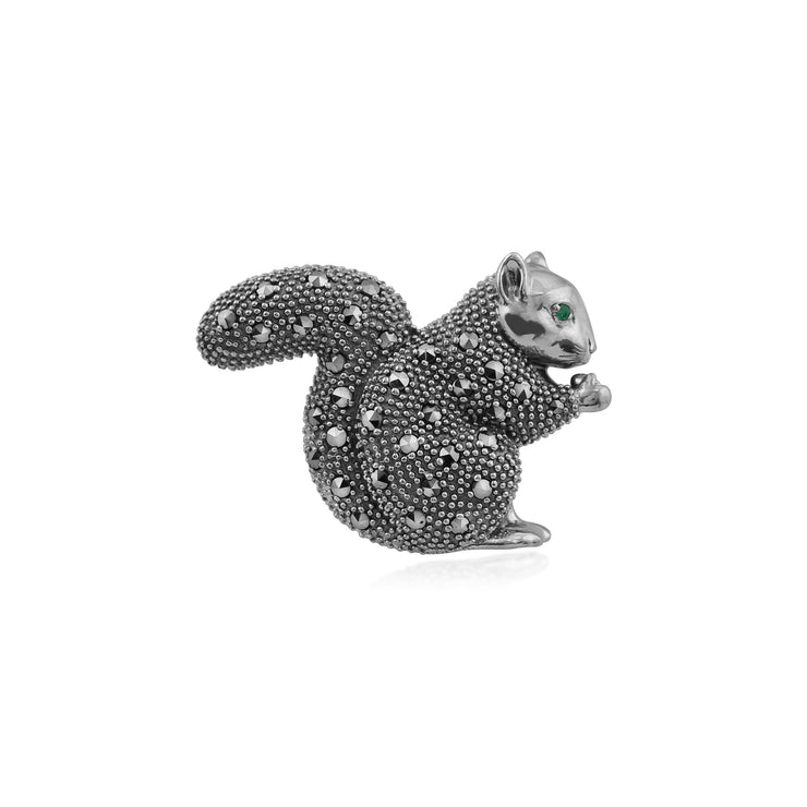Classic Marcasite Squirrel Brooch Image 1