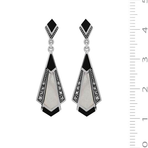 Art Nouveau Black Onyx, Mother of Pearl & Marcasite Drop Earrings Image 3