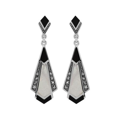 Art Nouveau Black Onyx, Mother of Pearl & Marcasite Drop Earrings Image 1