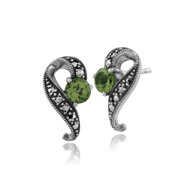 Art Nouveau Peridot Swirl Stud Earrings Image 1