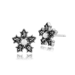 Floral Freshwater Pearl & Marcasite Stud Earrings Image 1