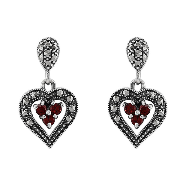 Art Deco Garnet & Marcasite Heart Earrings Image 1