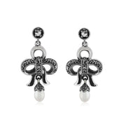 Art Nouveau Bow Pearl Drop Earrings Image 1