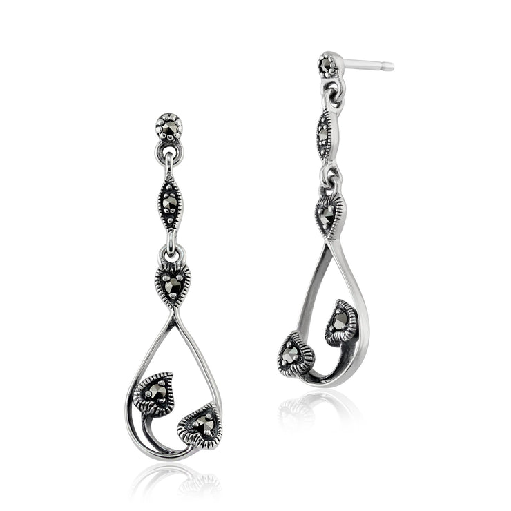 Art Nouveau Marcasite Drop Earrings Image 1