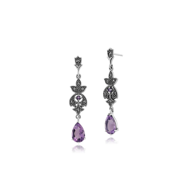 Art Nouveau Amethyst & Marcasite Drop Earrings Image 1