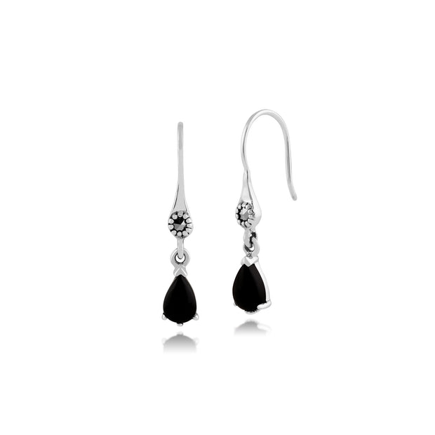 Art Nouveau Black Onyx & Marcasite Drop Earrings Image 1