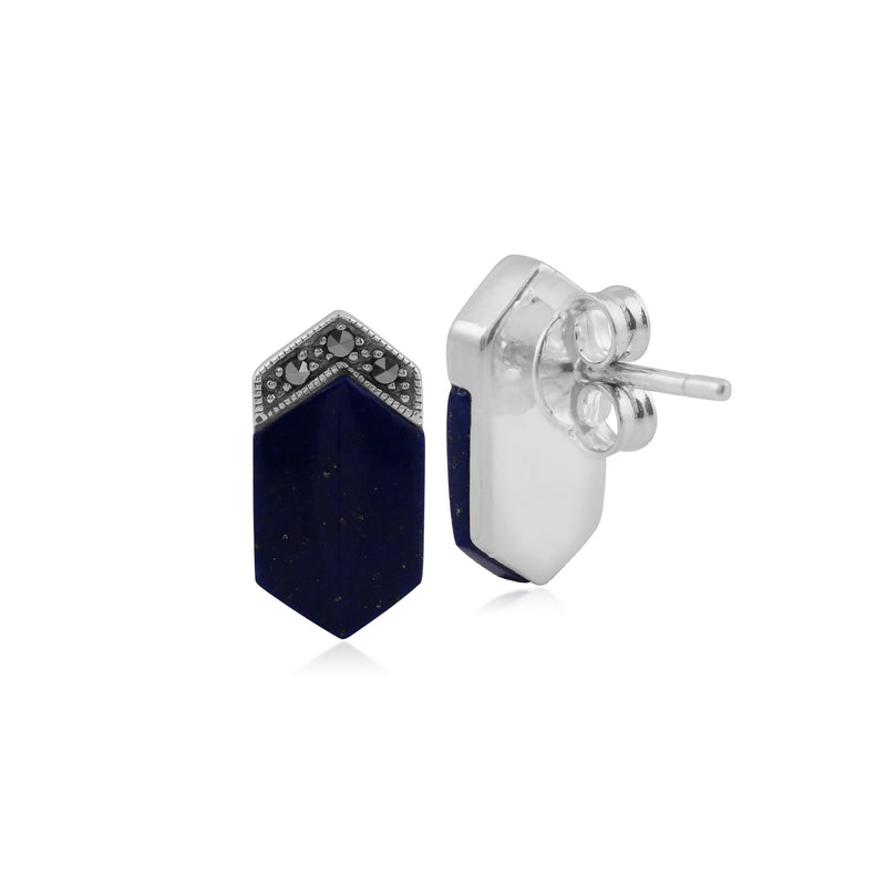 Art Deco Lapis Lazuli & Marcasite Stud Earrings Image 2