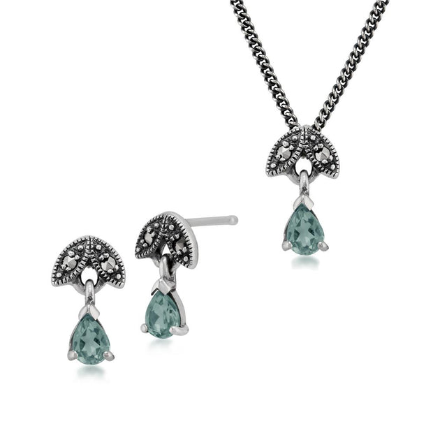 Art Deco Aquamarine & Marcasite Leaf Stud Earrings & Pendant Set Image 1