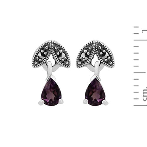 Art Nouveau Amethyst & Marcasite Drop Earrings Image 3