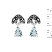 Art Deco Aquamarine & Marcasite Leaf Stud Earrings & Pendant Set Image 4