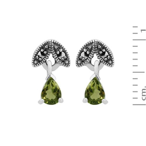 Art Nouveau Peridot & Marcasite Drop Earrings Image 3