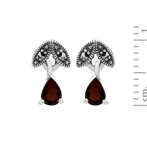 Art Nouveau Garnet & Marcasite Drop Earrings Image 3
