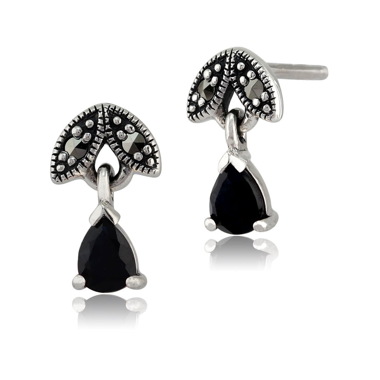Art Nouveau Sapphire & Marcasite Drop Earrings Image 1