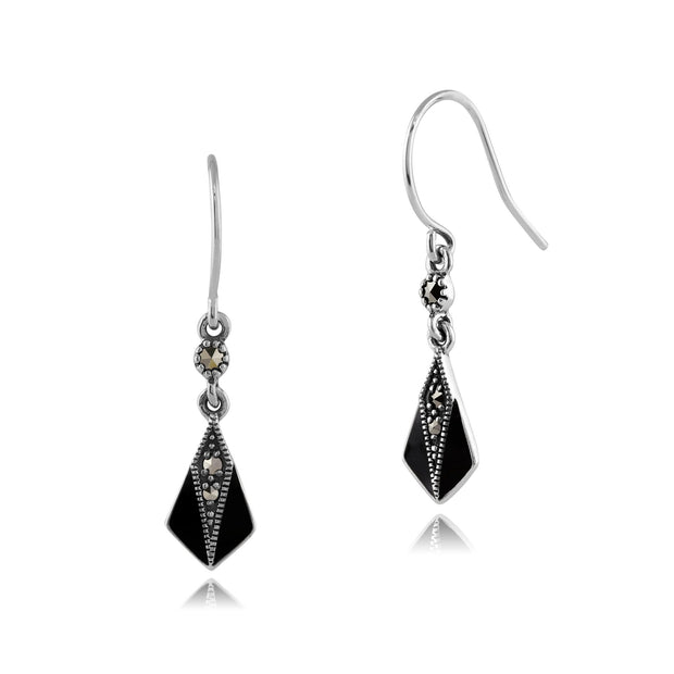 Art Nouveau Marcasite & Enamel Drop Earrings Image 1