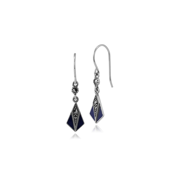 Art Deco Marcasite & Blue Enamel Fan Drop Earrings