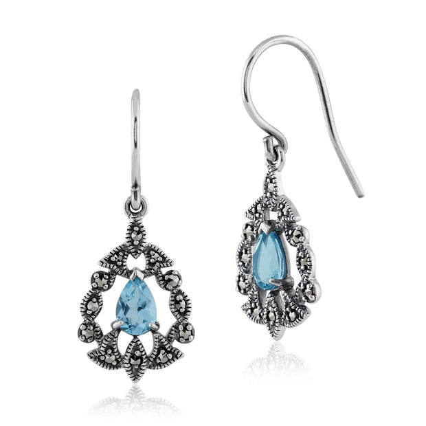 Art Nouveau Blue Topaz & Marcasite Drop Earrings Image 1